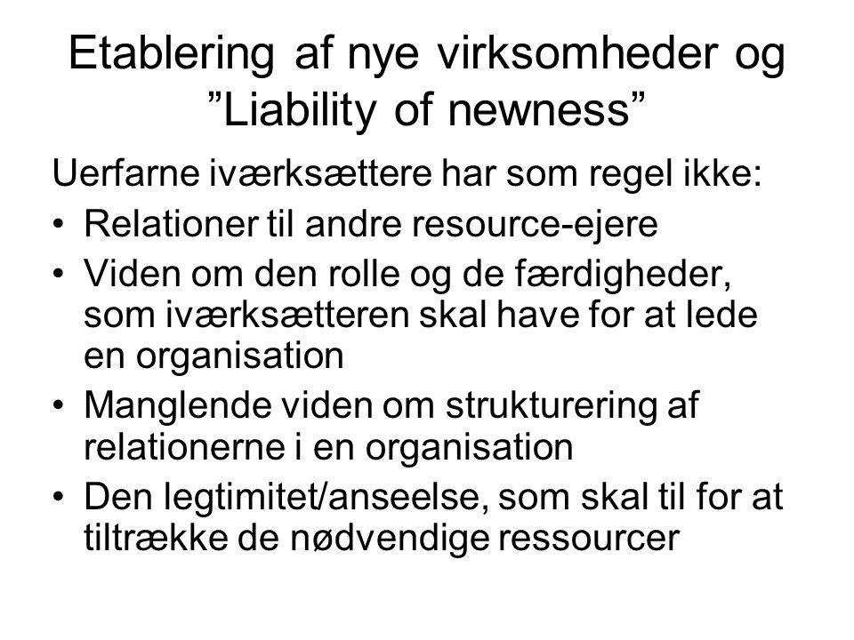 Etablering af nye virksomheder og Liability of newness