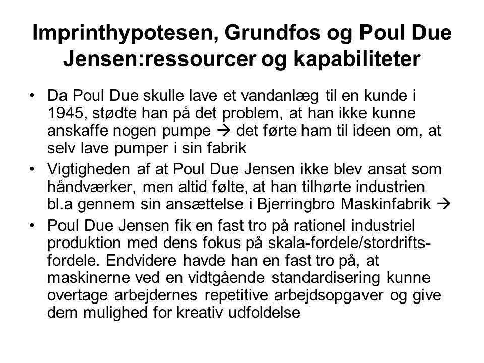 Imprinthypotesen, Grundfos og Poul Due Jensen:ressourcer og kapabiliteter