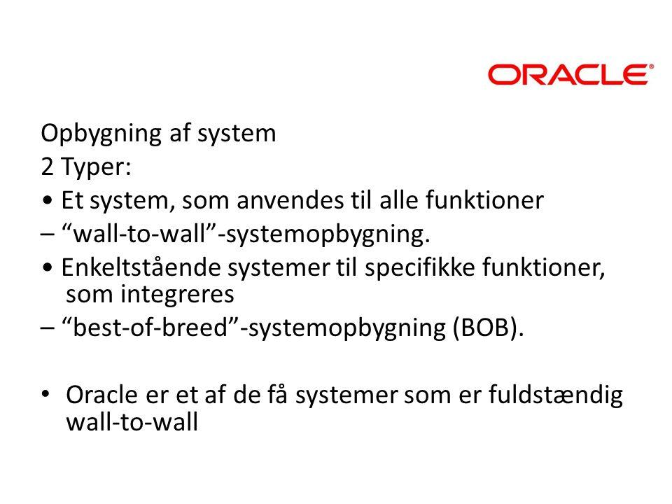 Opbygning af system 2 Typer: • Et system, som anvendes til alle funktioner. – wall-to-wall -systemopbygning.