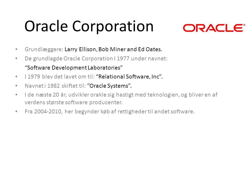 Oracle Corporation Grundlæggere: Larry Ellison, Bob Miner and Ed Oates. De grundlagde Oracle Corporation I 1977 under navnet: