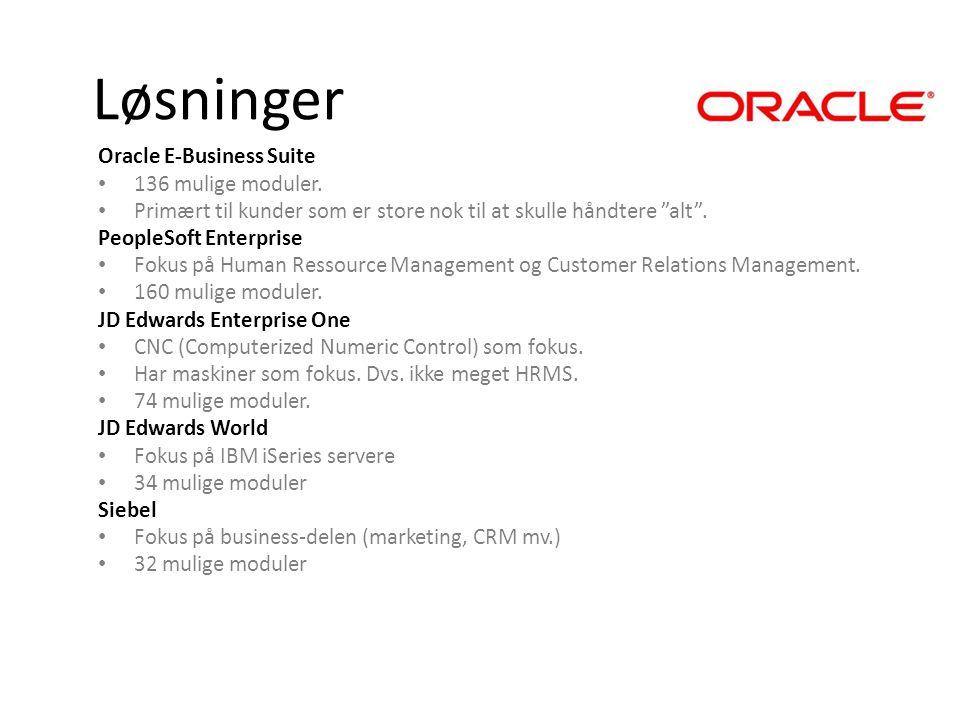Løsninger Oracle E-Business Suite 136 mulige moduler.