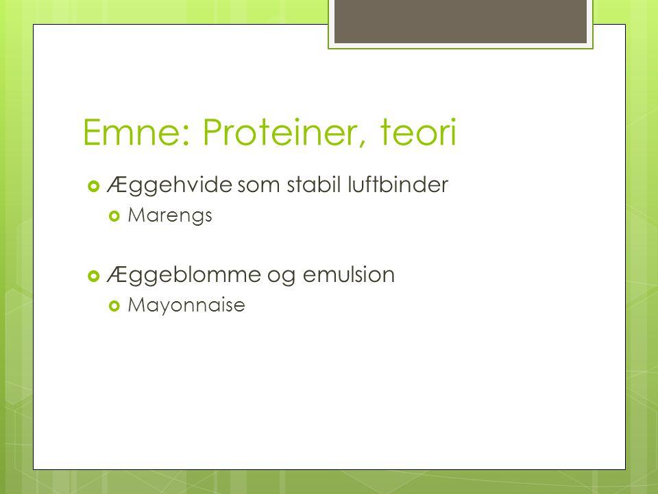 Emne: Proteiner, teori Æggehvide som stabil luftbinder
