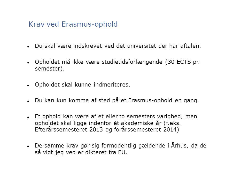 Krav ved Erasmus-ophold