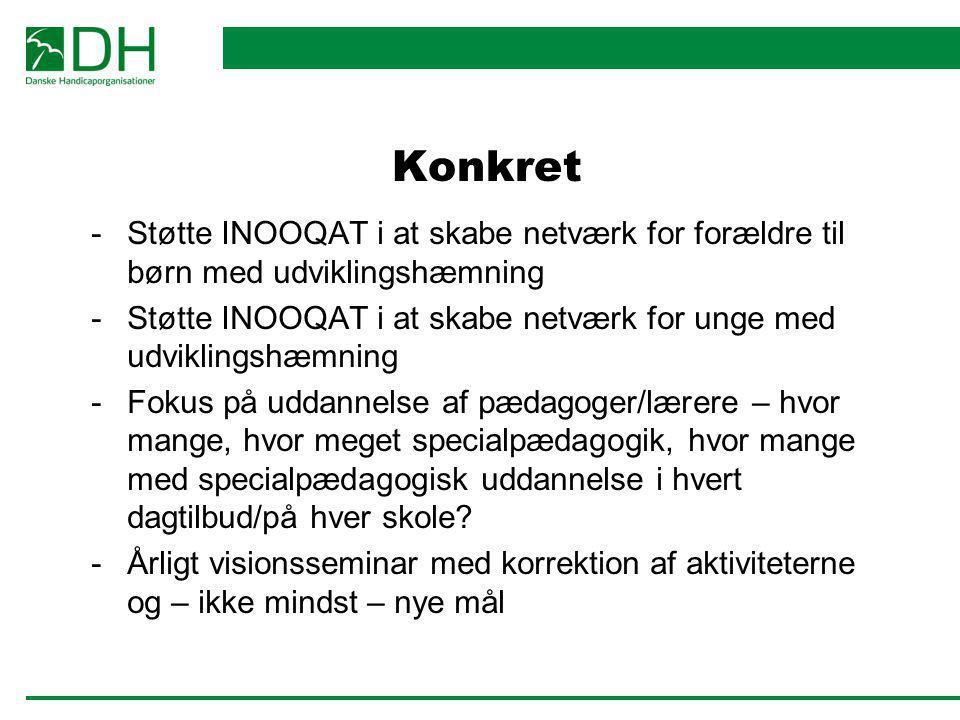 Konkret Støtte INOOQAT i at skabe netværk for forældre til børn med udviklingshæmning.