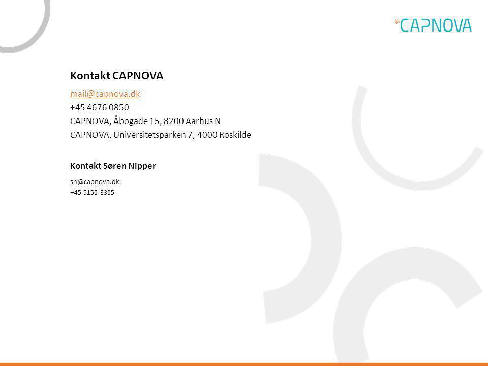 Kontakt CAPNOVA mail@capnova.dk +45 4676 0850 CAPNOVA, Åbogade 15, 8200 Aarhus N CAPNOVA, Universitetsparken 7, 4000 Roskilde