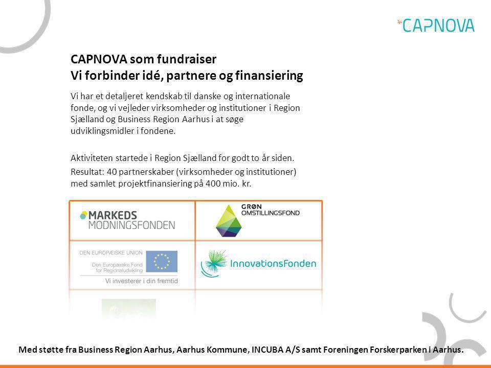 CAPNOVA som fundraiser Vi forbinder idé, partnere og finansiering