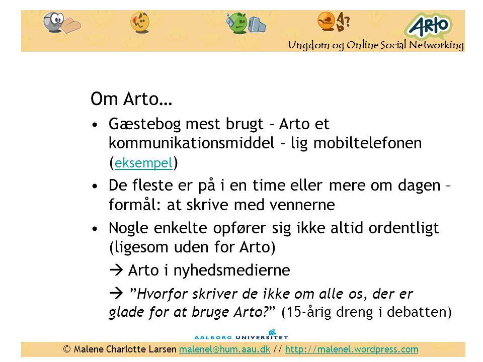 Om Arto… Gæstebog mest brugt – Arto et kommunikationsmiddel – lig mobiltelefonen (eksempel)