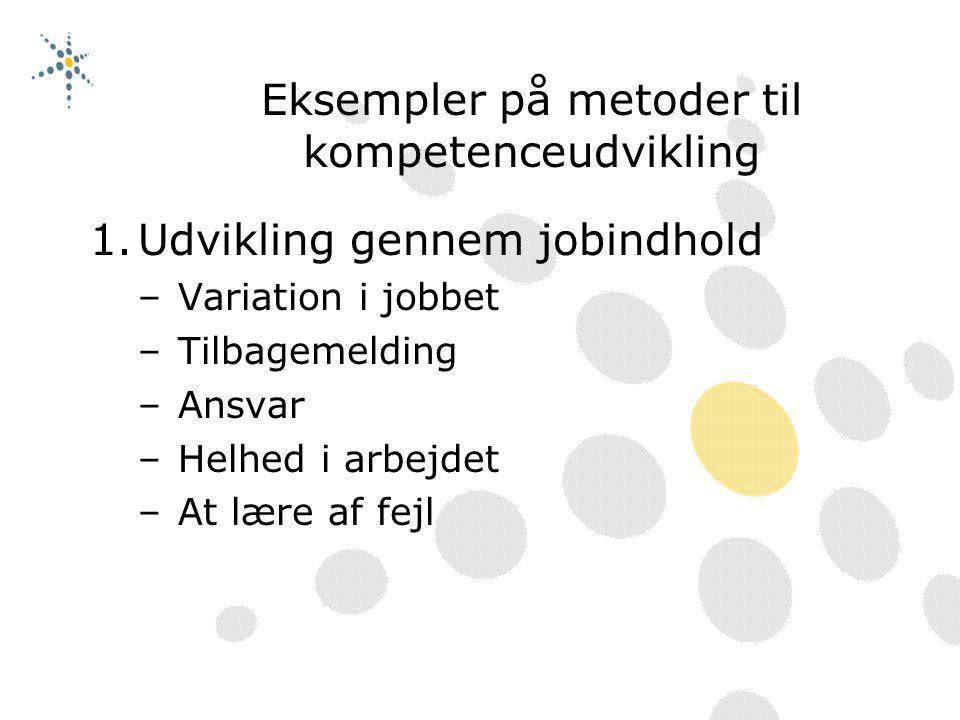 Eksempler på metoder til kompetenceudvikling
