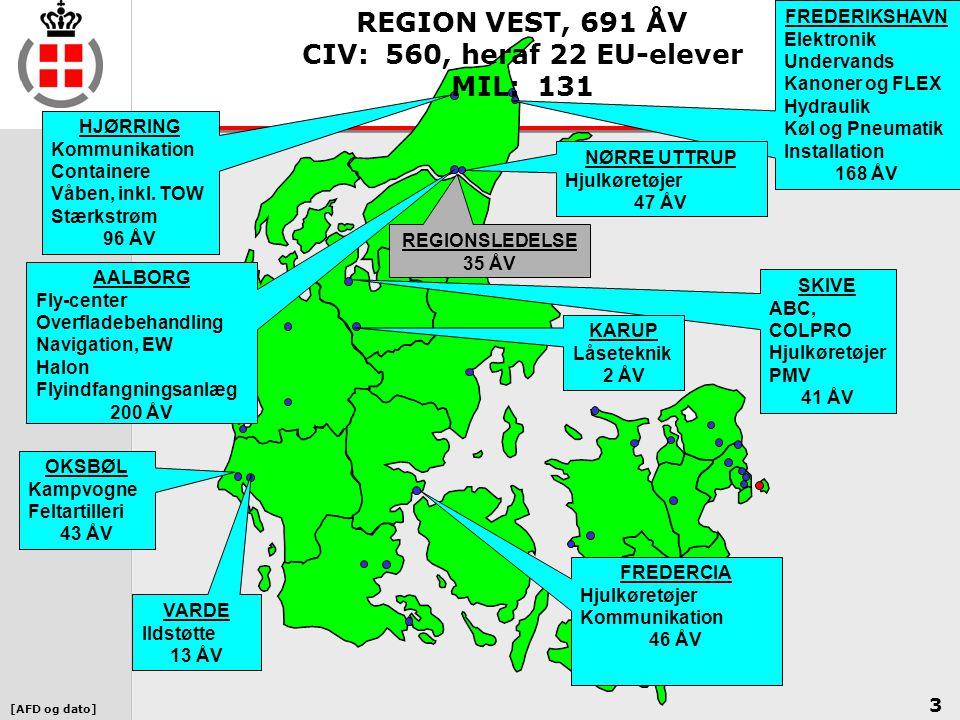 REGION VEST, 691 ÅV CIV: 560, heraf 22 EU-elever MIL: 131