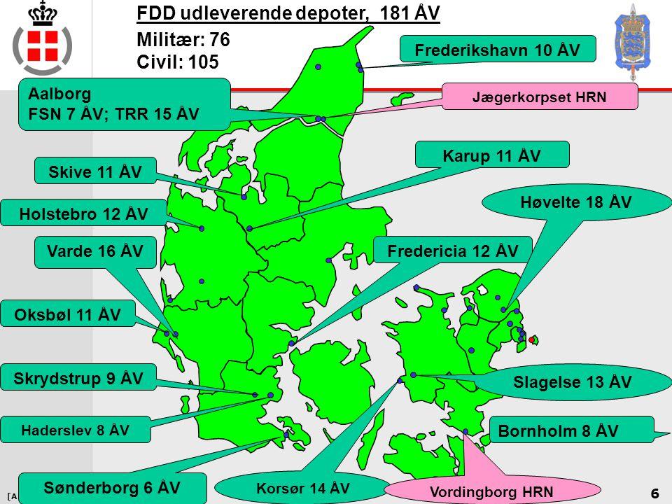 FDD udleverende depoter, 181 ÅV Militær: 76 Civil: 105
