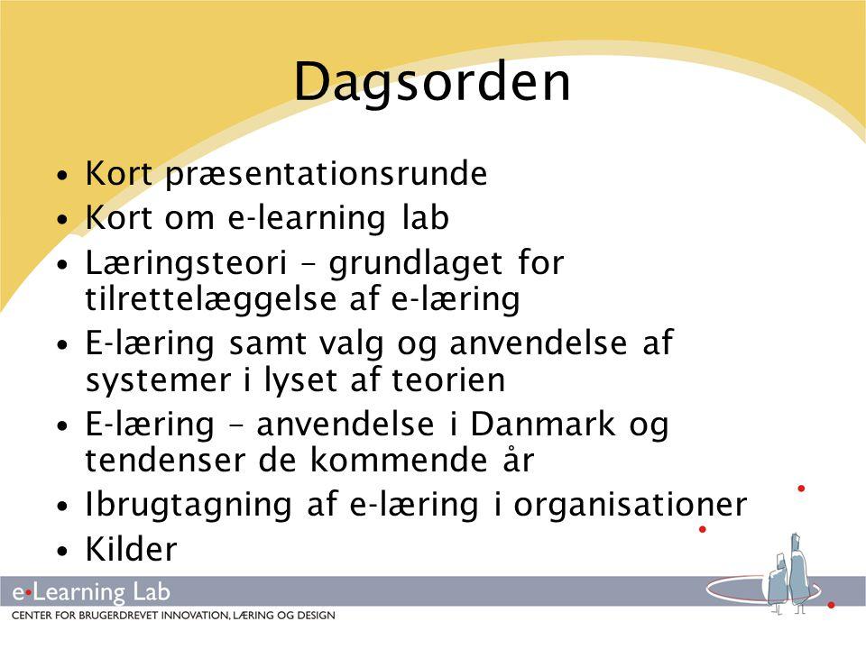 Dagsorden Kort præsentationsrunde Kort om e-learning lab