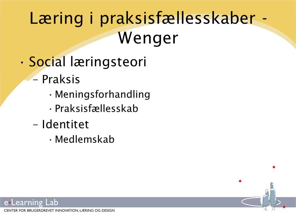 Læring i praksisfællesskaber - Wenger
