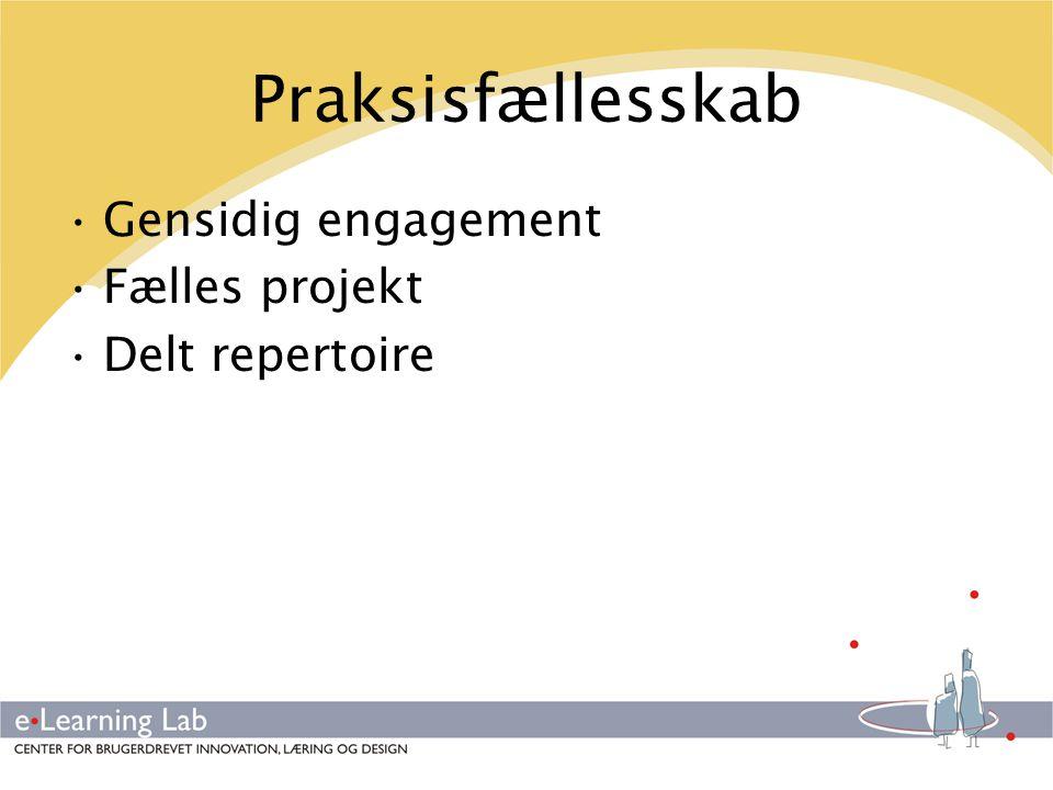 Praksisfællesskab Gensidig engagement Fælles projekt Delt repertoire