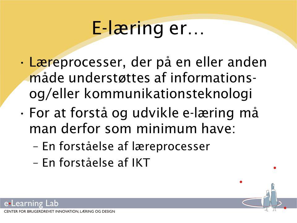 E-læring er… Læreprocesser, der på en eller anden måde understøttes af informations- og/eller kommunikationsteknologi.