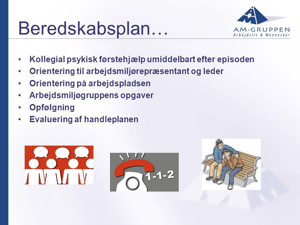 Beredskabsplan… Kollegial psykisk førstehjælp umiddelbart efter episoden. Orientering til arbejdsmiljørepræsentant og leder.