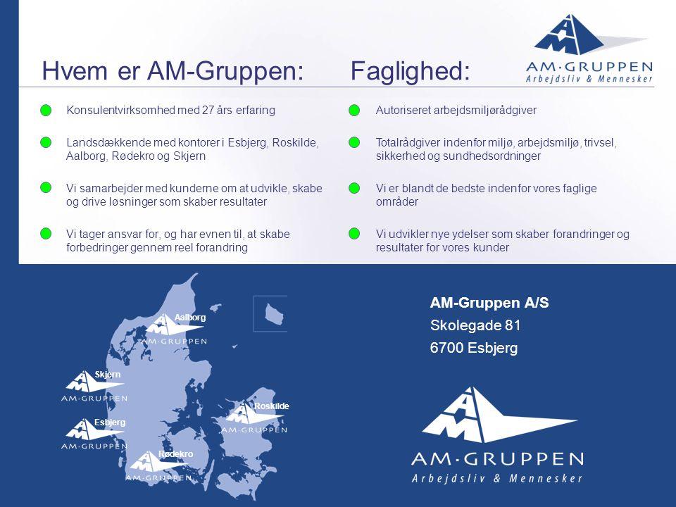 Hvem er AM-Gruppen: Faglighed: AM-Gruppen A/S Skolegade 81
