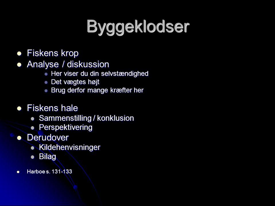 Byggeklodser Fiskens krop Analyse / diskussion Fiskens hale Derudover
