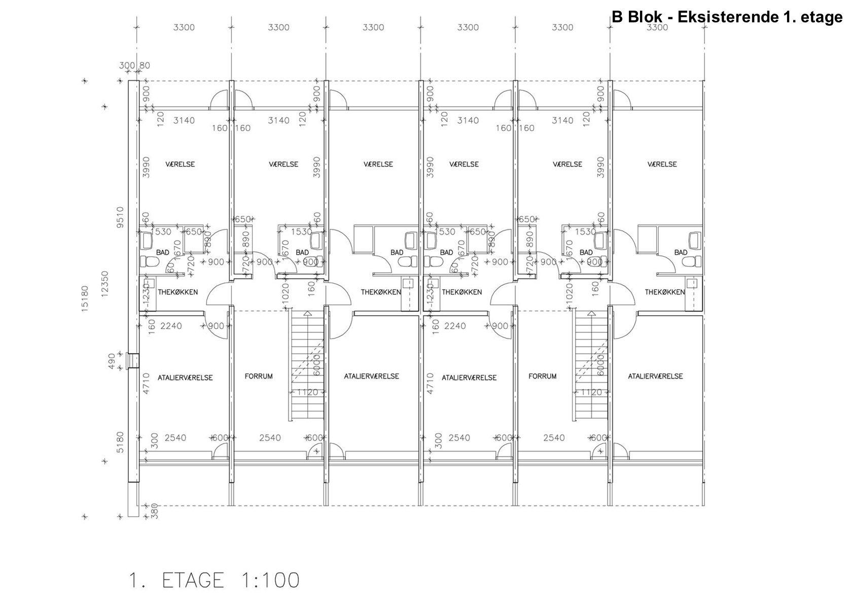 B Blok - Eksisterende 1. etage