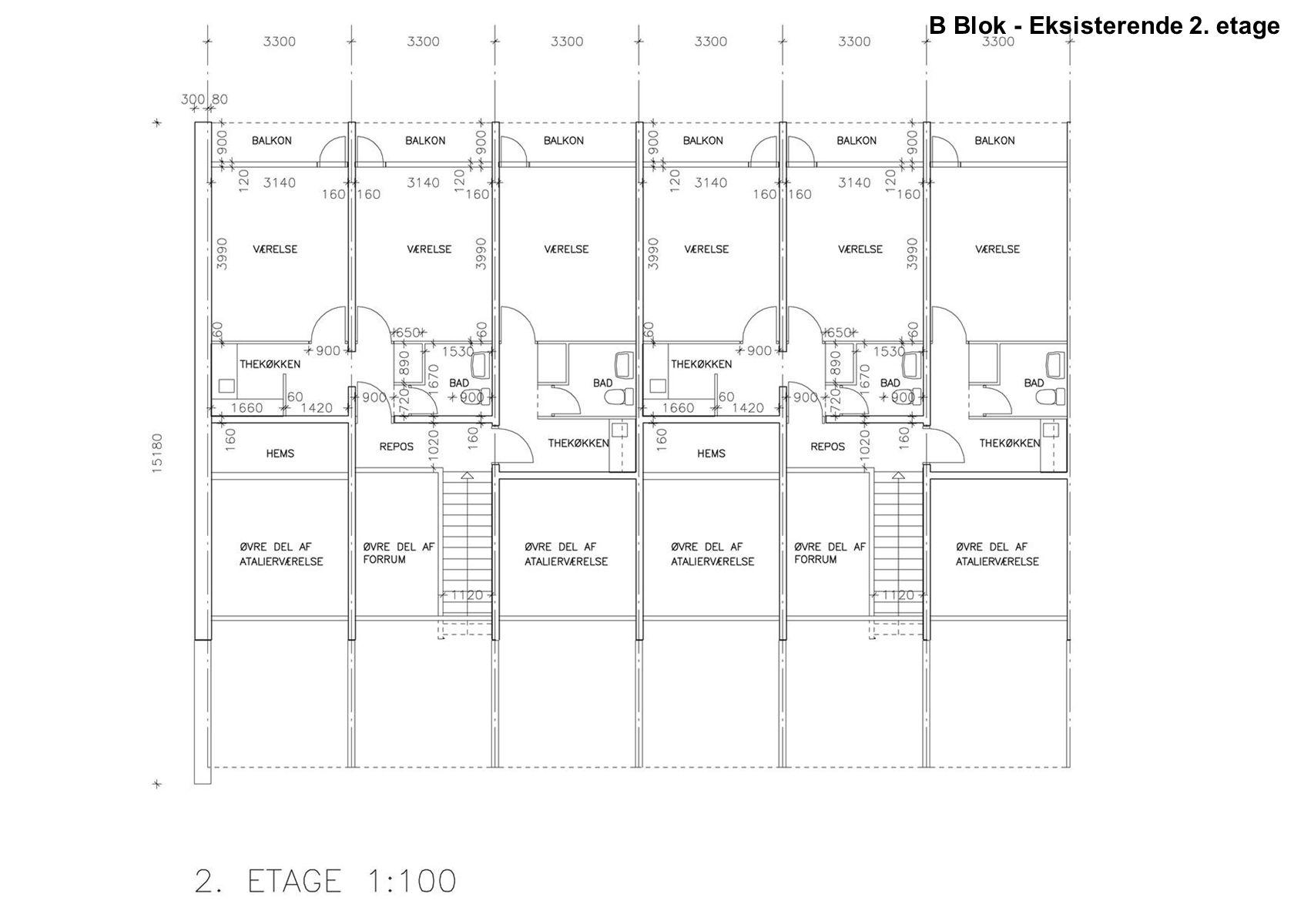 B Blok - Eksisterende 2. etage