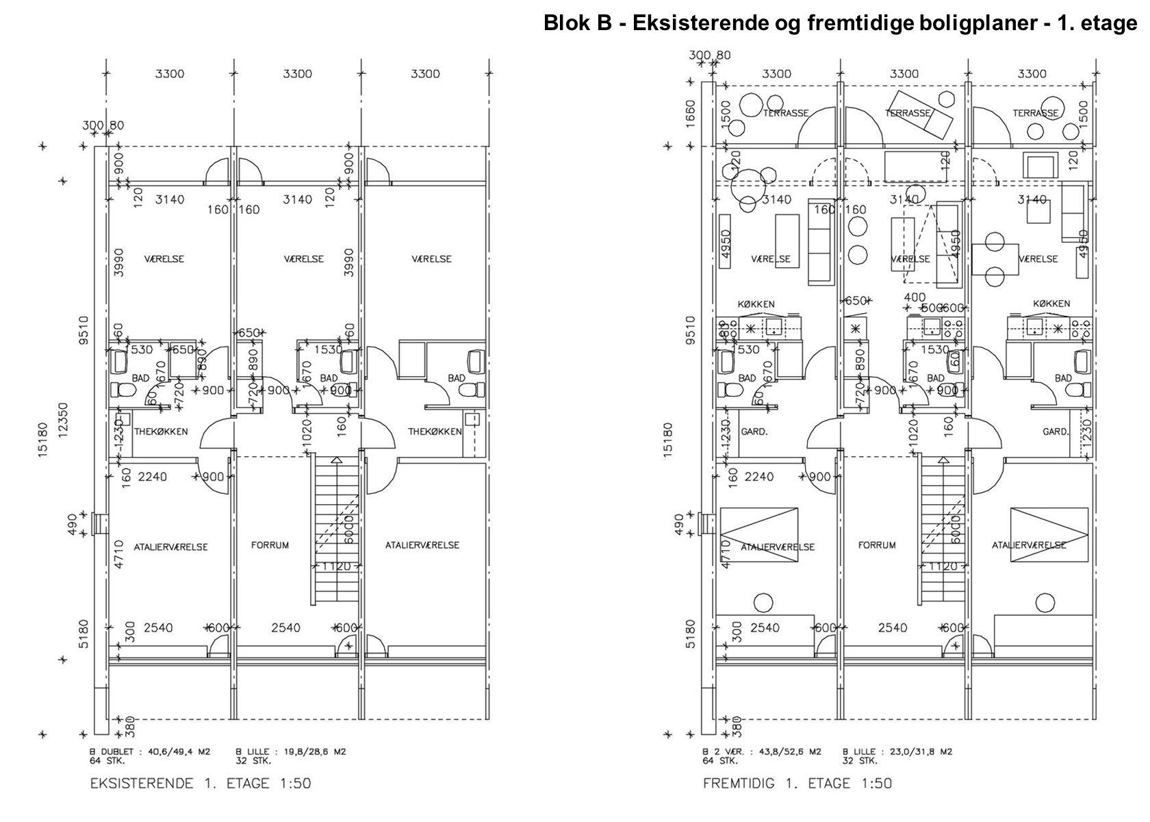 Blok B - Eksisterende og fremtidige boligplaner - 1. etage