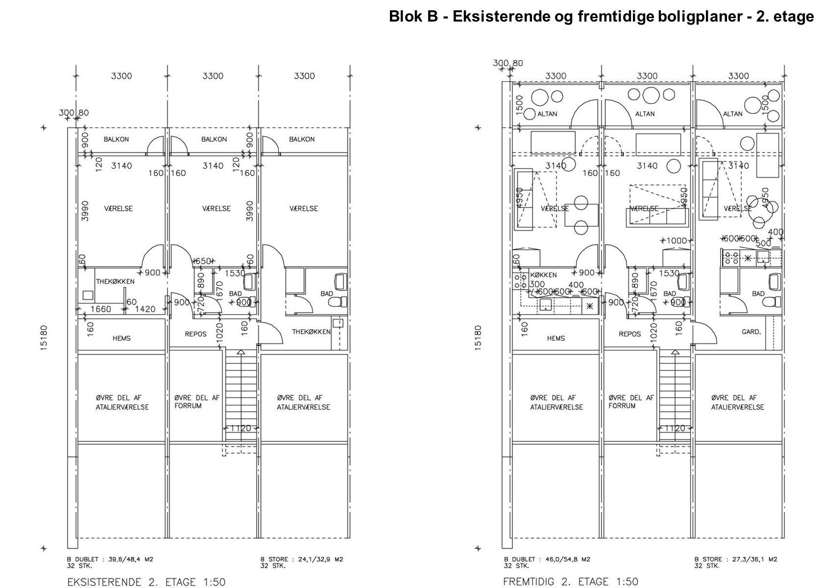 Blok B - Eksisterende og fremtidige boligplaner - 2. etage