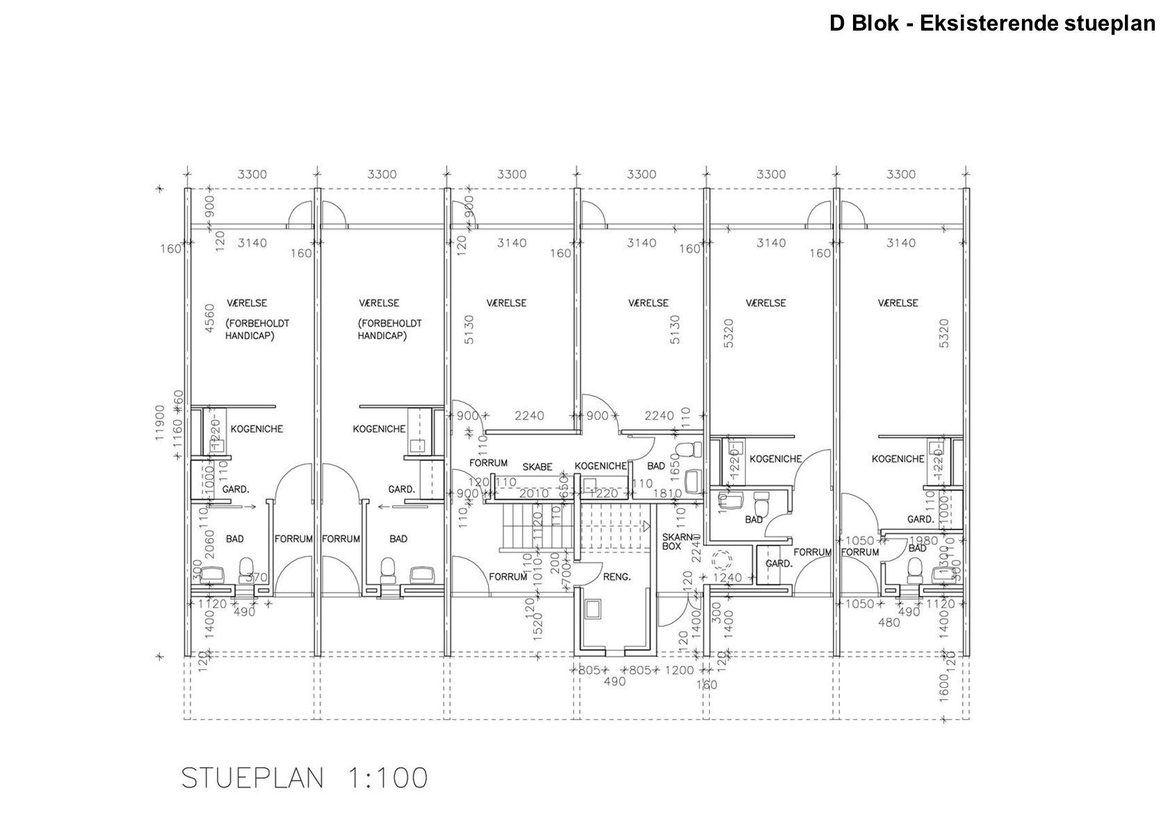 D Blok - Eksisterende stueplan