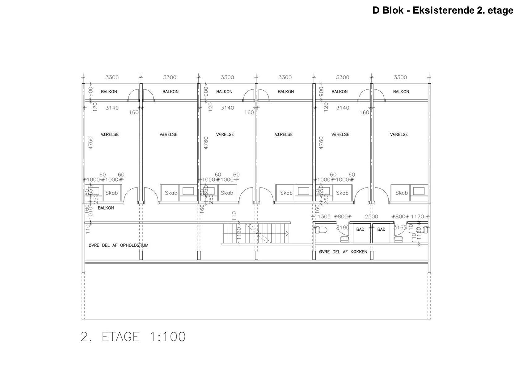 D Blok - Eksisterende 2. etage