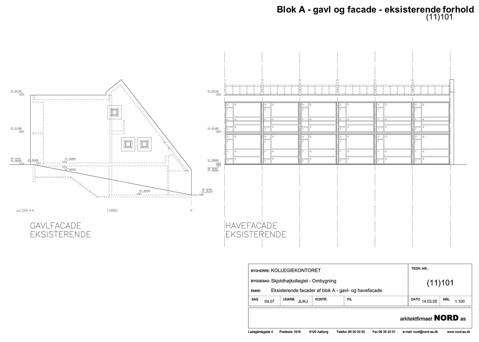 Blok A - gavl og facade - eksisterende forhold