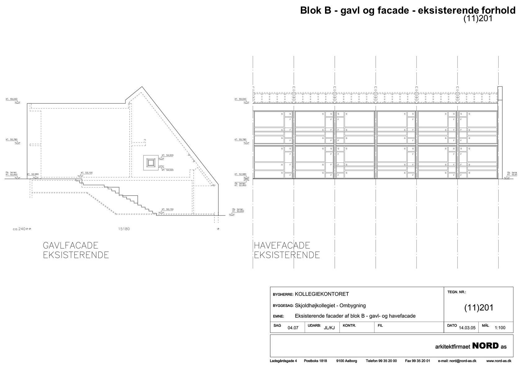 Blok B - gavl og facade - eksisterende forhold