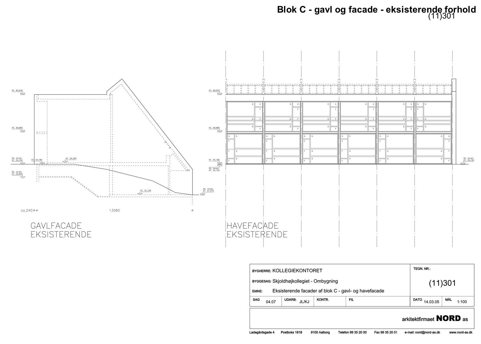 Blok C - gavl og facade - eksisterende forhold