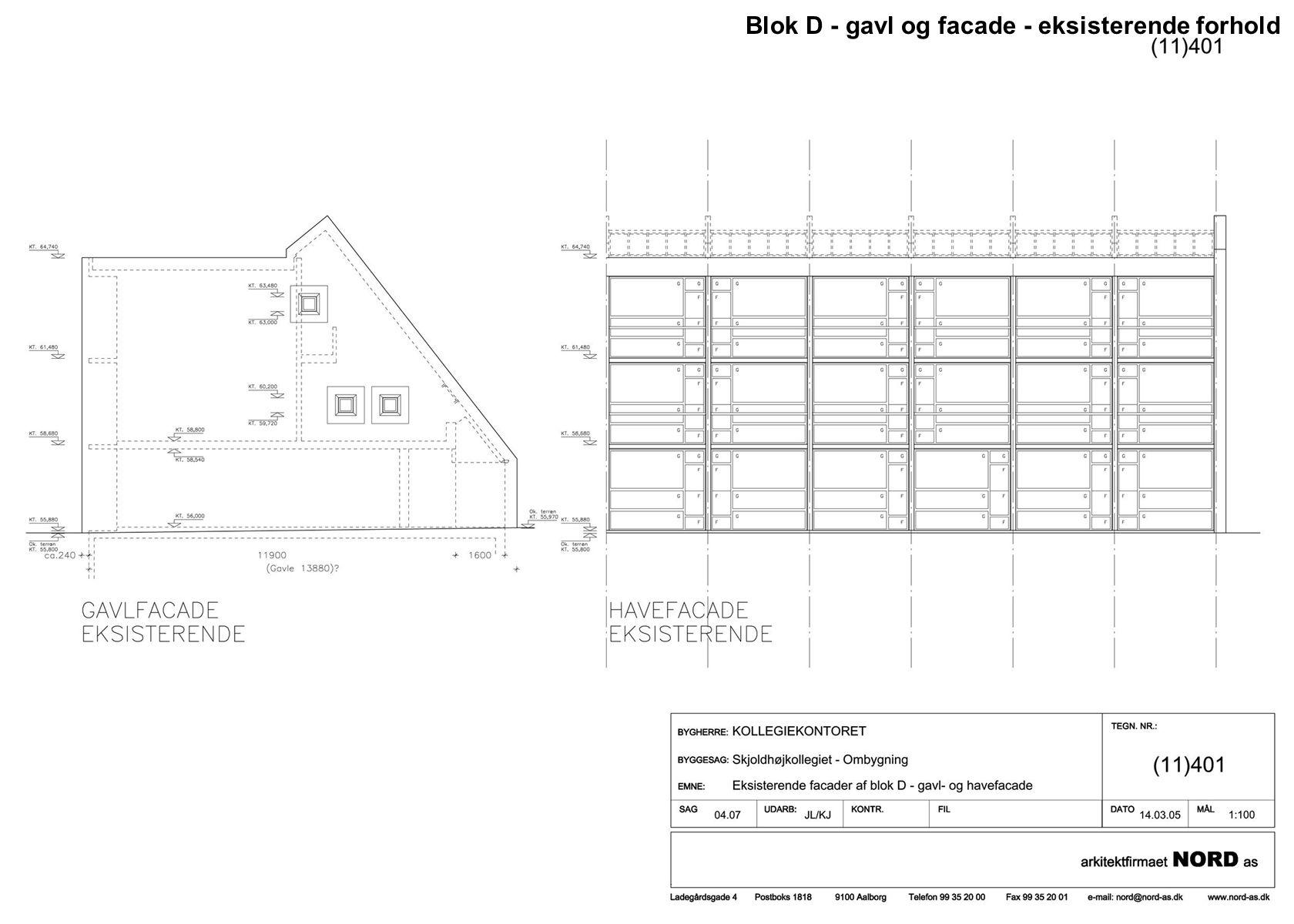 Blok D - gavl og facade - eksisterende forhold