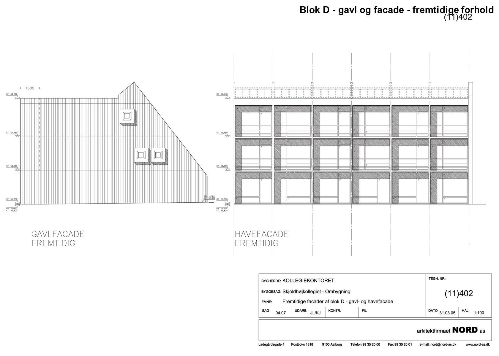 Blok D - gavl og facade - fremtidige forhold