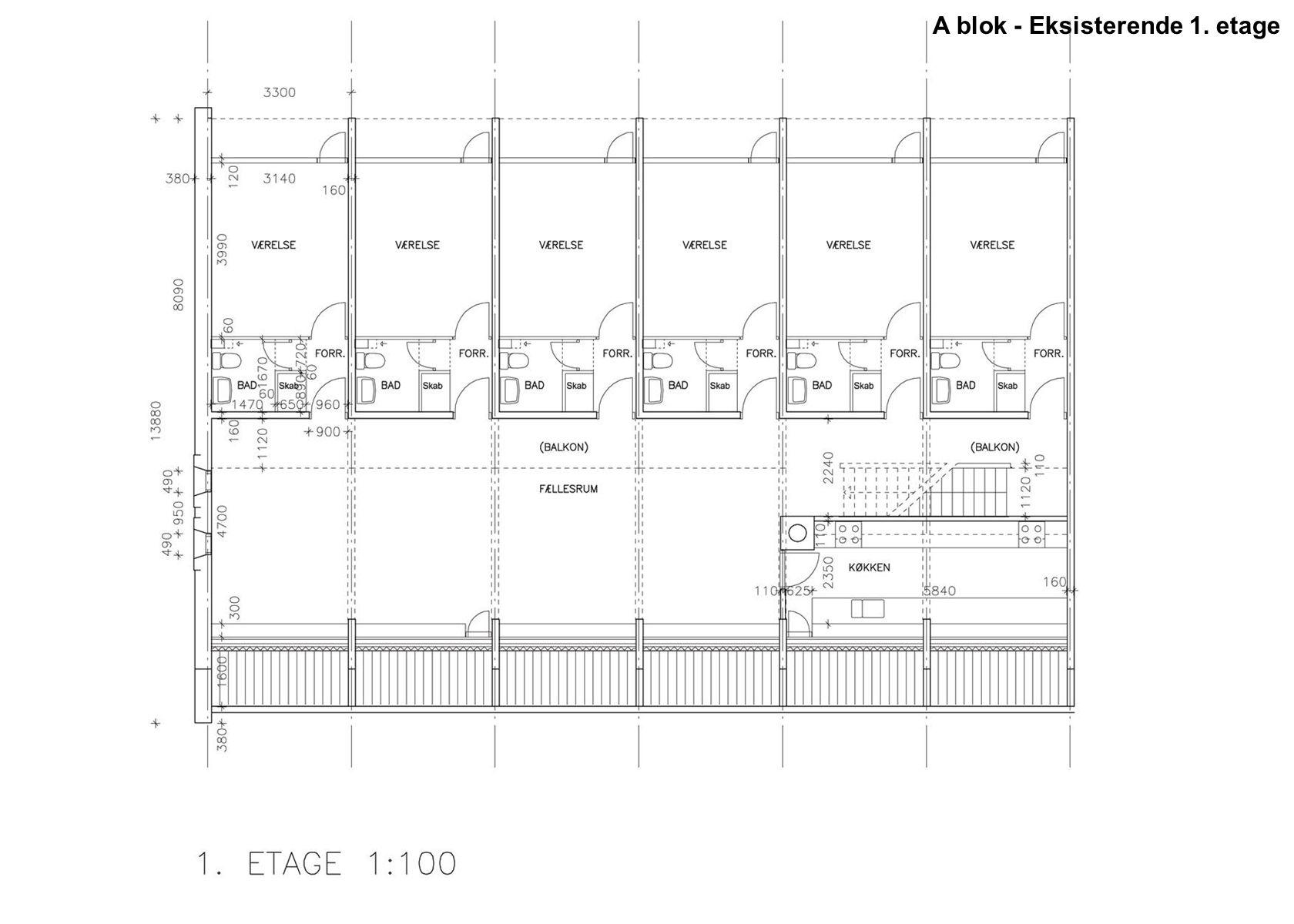 A blok - Eksisterende 1. etage