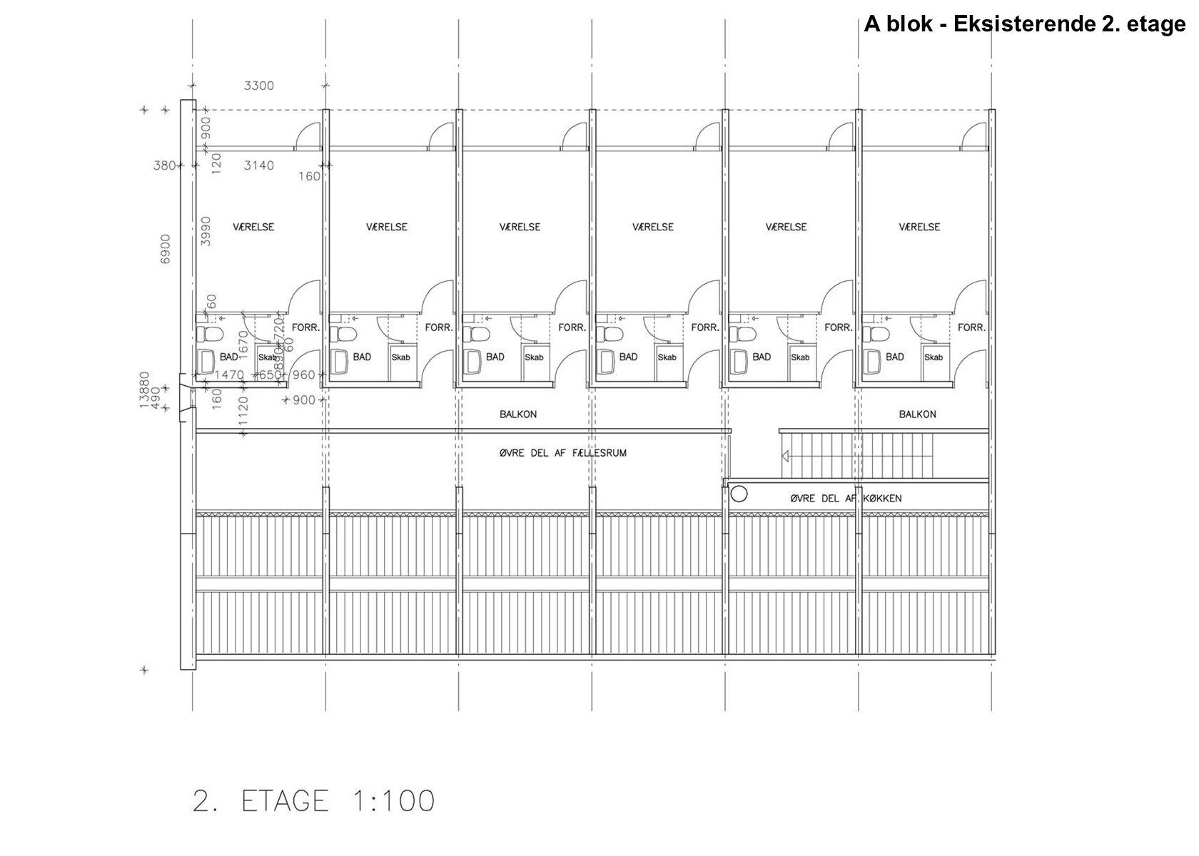 A blok - Eksisterende 2. etage