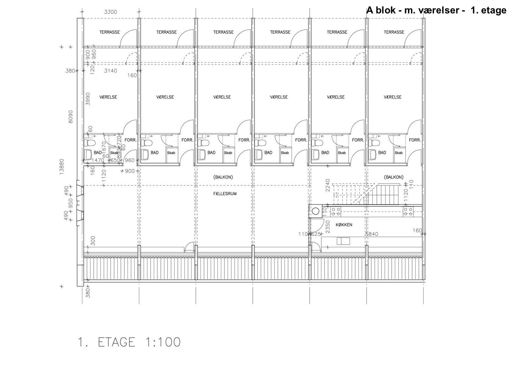 A blok - m. værelser - 1. etage