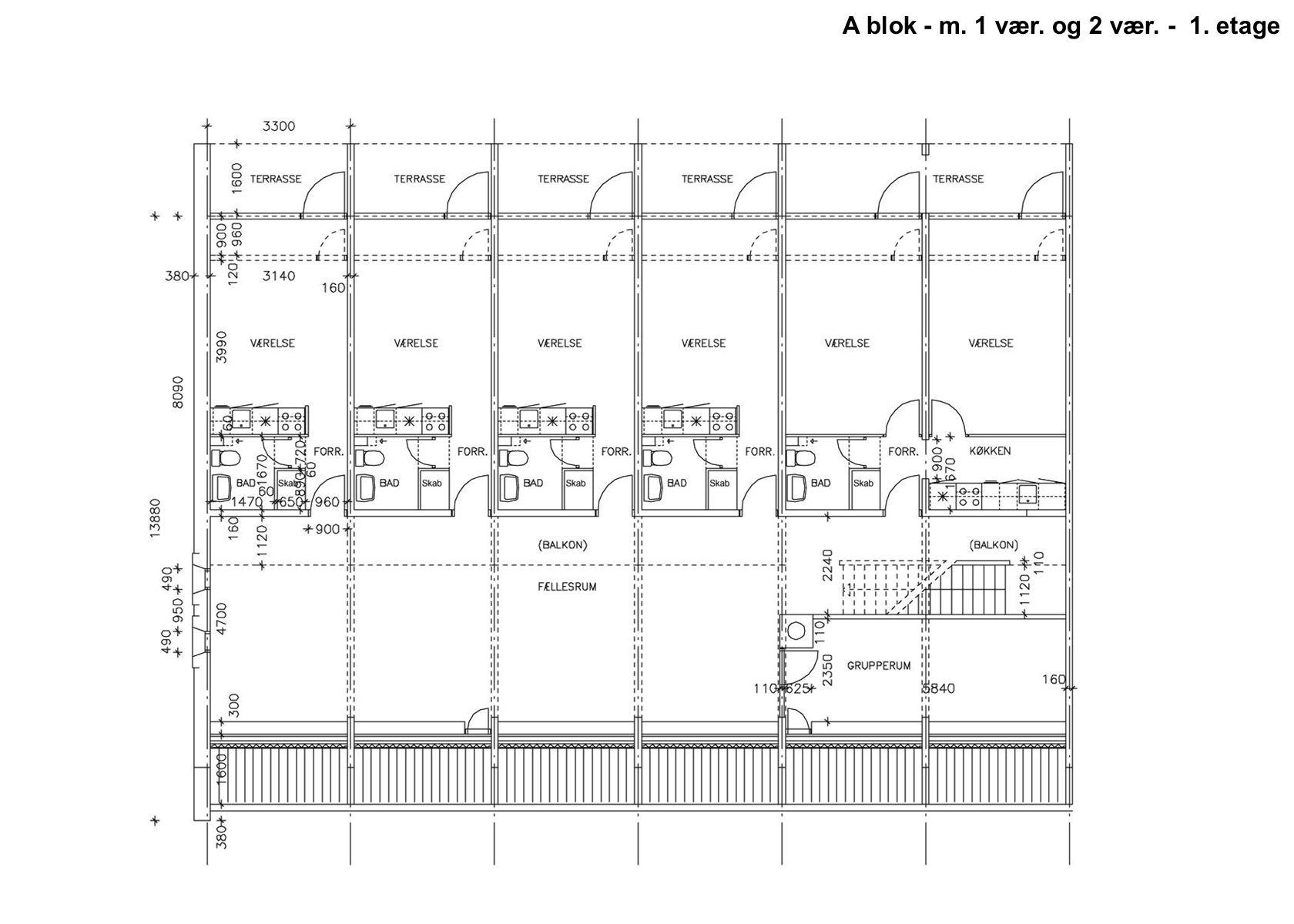 A blok - m. 1 vær. og 2 vær. - 1. etage