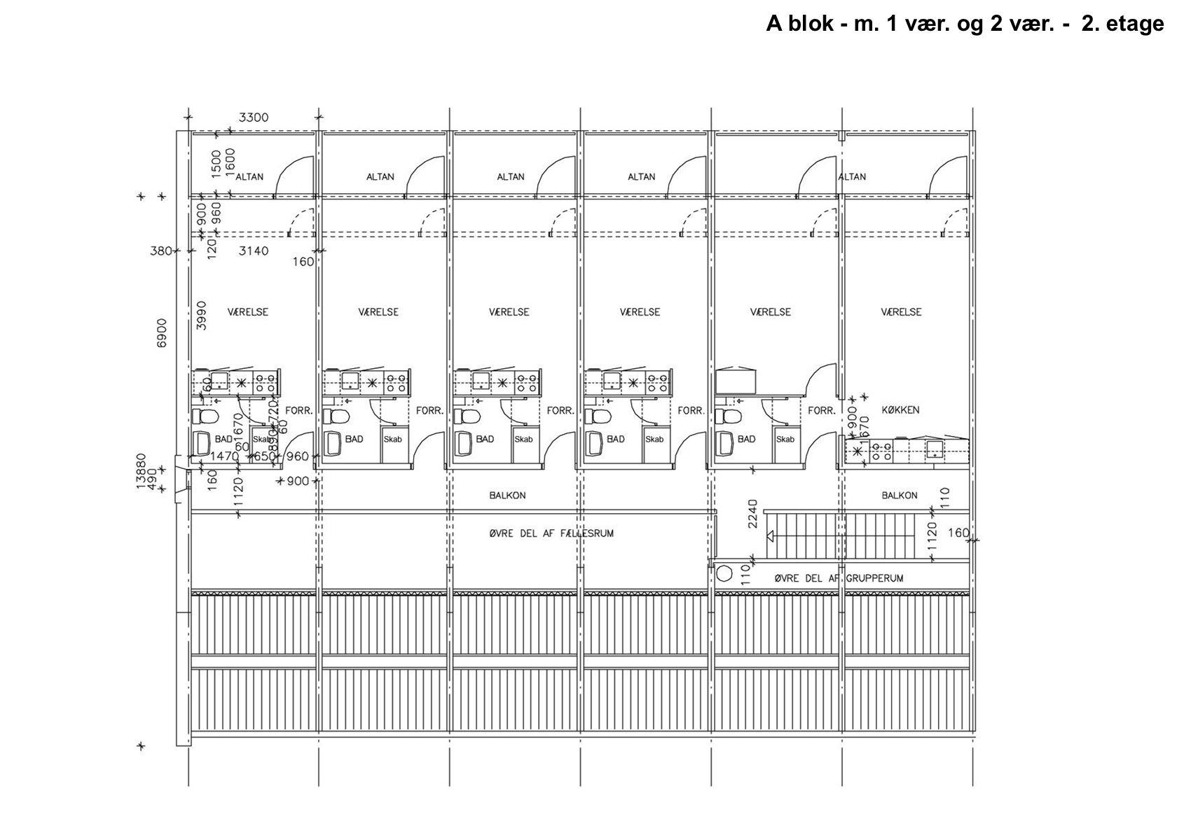 A blok - m. 1 vær. og 2 vær. - 2. etage