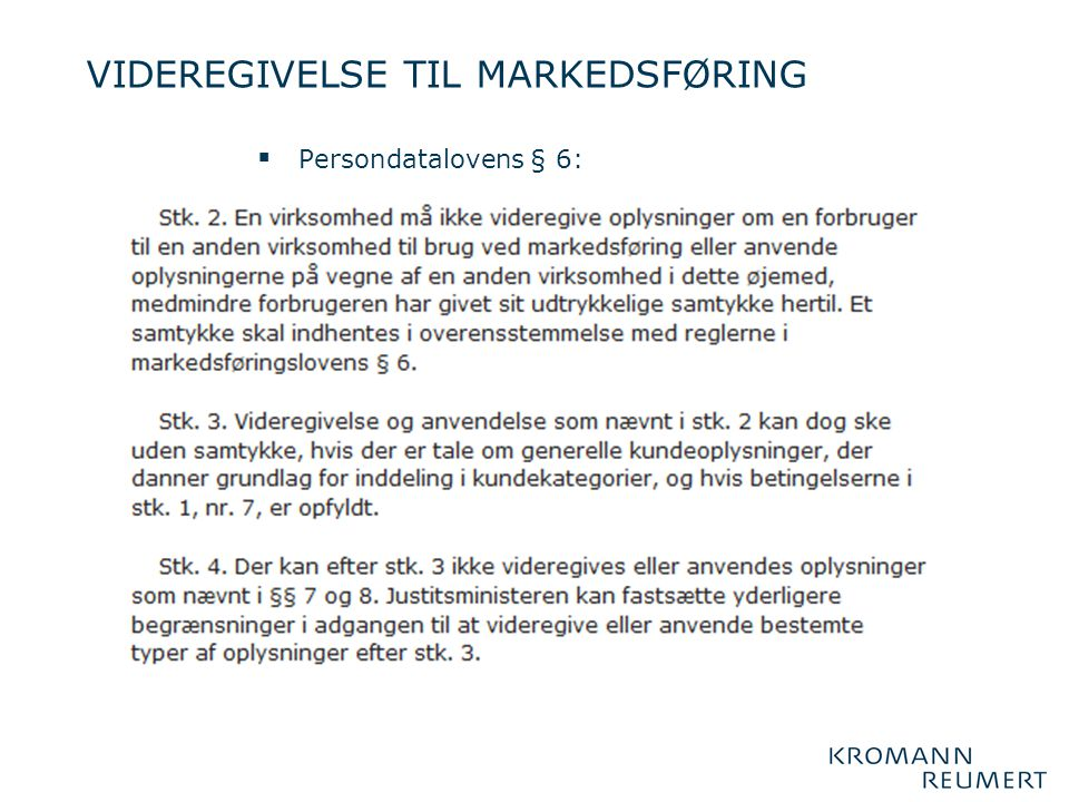 VIDEREGIVELSE TIL MARKEDSFØRING