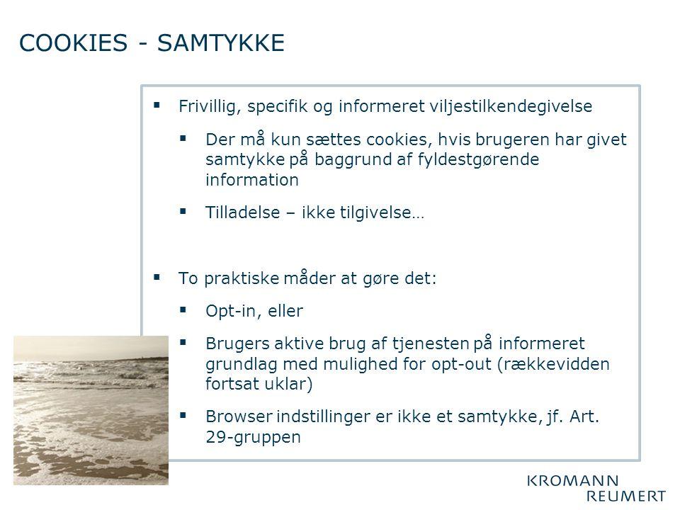 COOKIES - SAMTYKKE Frivillig, specifik og informeret viljestilkendegivelse.