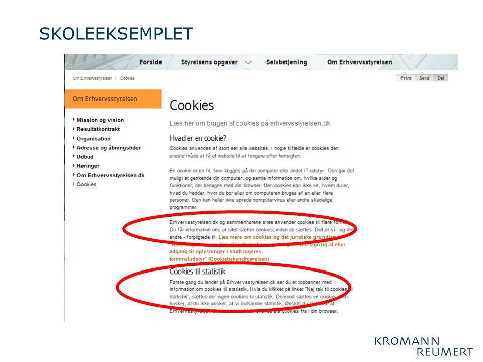 SKOLEEKSEMPLET DU får information om, at sitet sætter cookies, inden de sættes. Det er vi – og alle andre – forpligtede til….UPS.