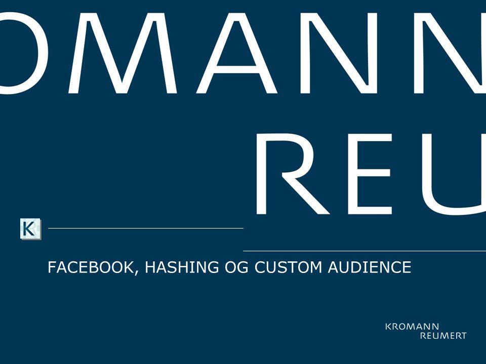 Facebook, Hashing og CUSTOM AUDIENCE