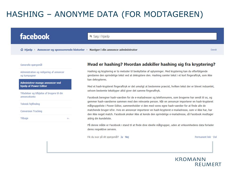 Hashing – anonyme data (for modtageren)