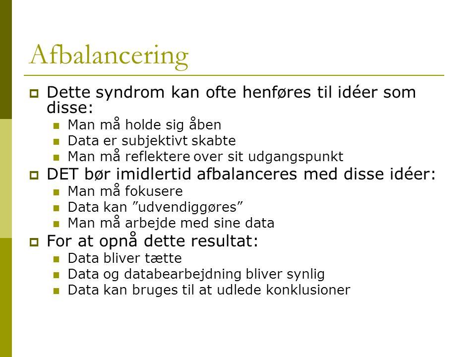 Afbalancering Dette syndrom kan ofte henføres til idéer som disse: