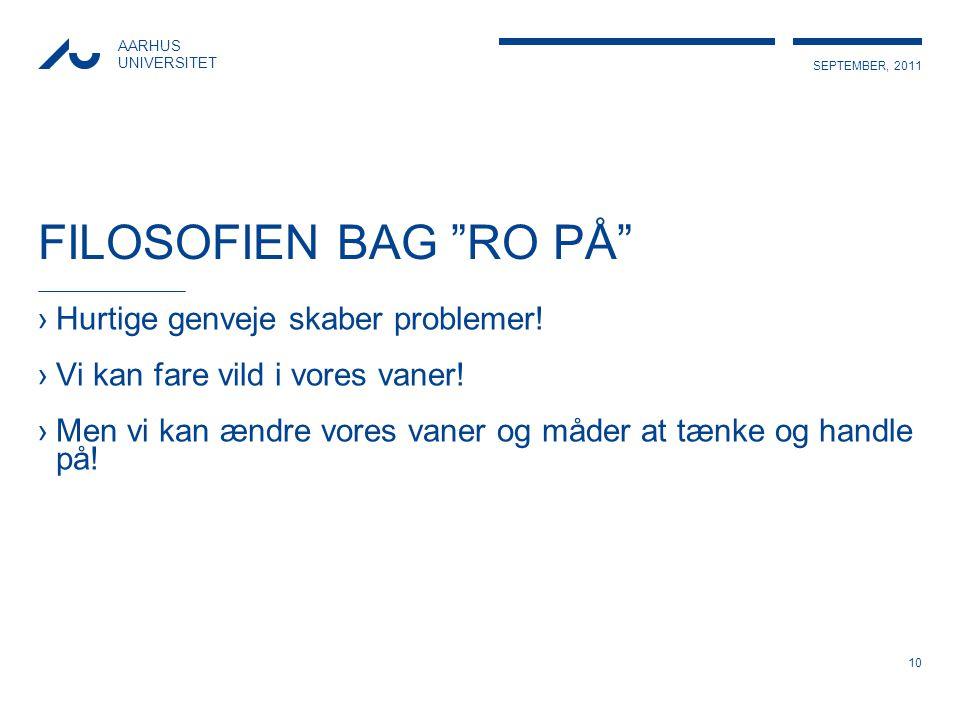 FILOSOFIEN BAG RO PÅ Hurtige genveje skaber problemer!