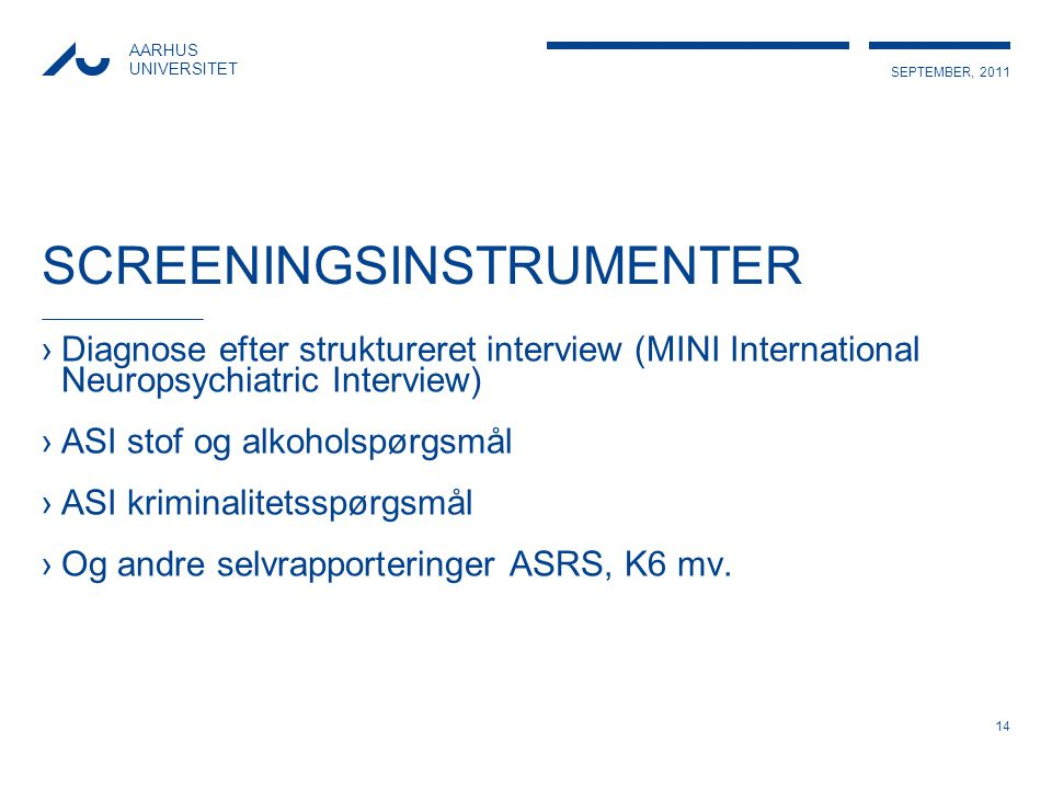 SCREENINGSINSTRUMENTER