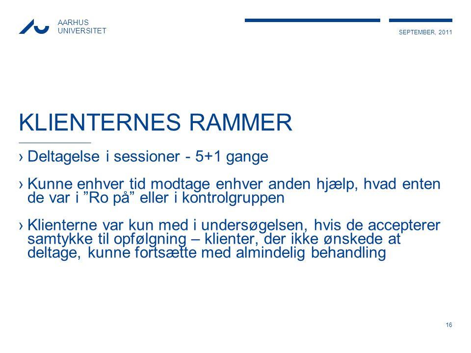 KLIENTERNES RAMMER Deltagelse i sessioner - 5+1 gange