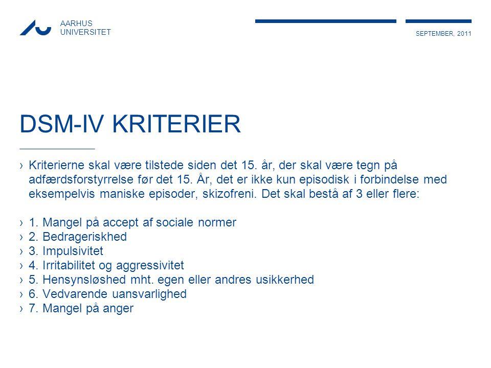 DSM-IV KRITERIER