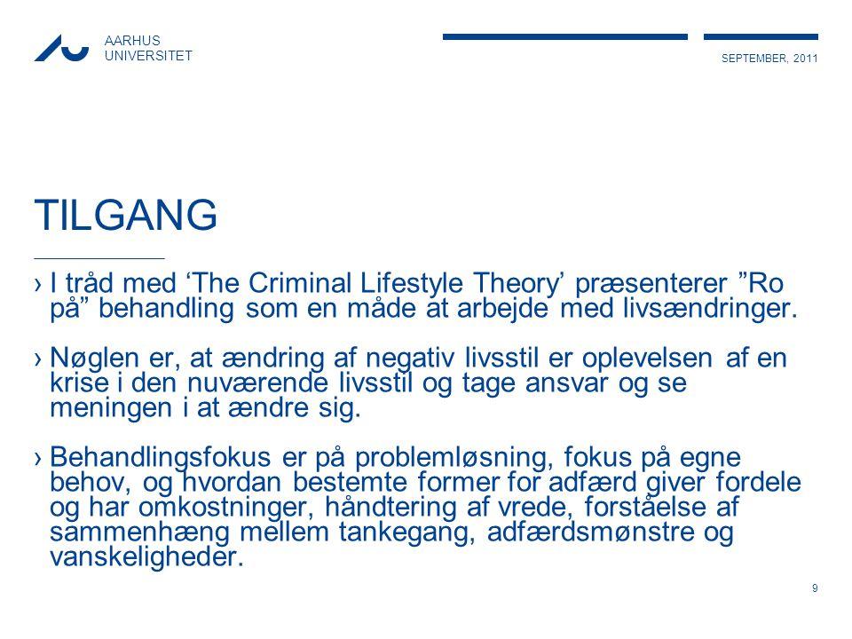 TILGANG I tråd med 'The Criminal Lifestyle Theory' præsenterer Ro på behandling som en måde at arbejde med livsændringer.
