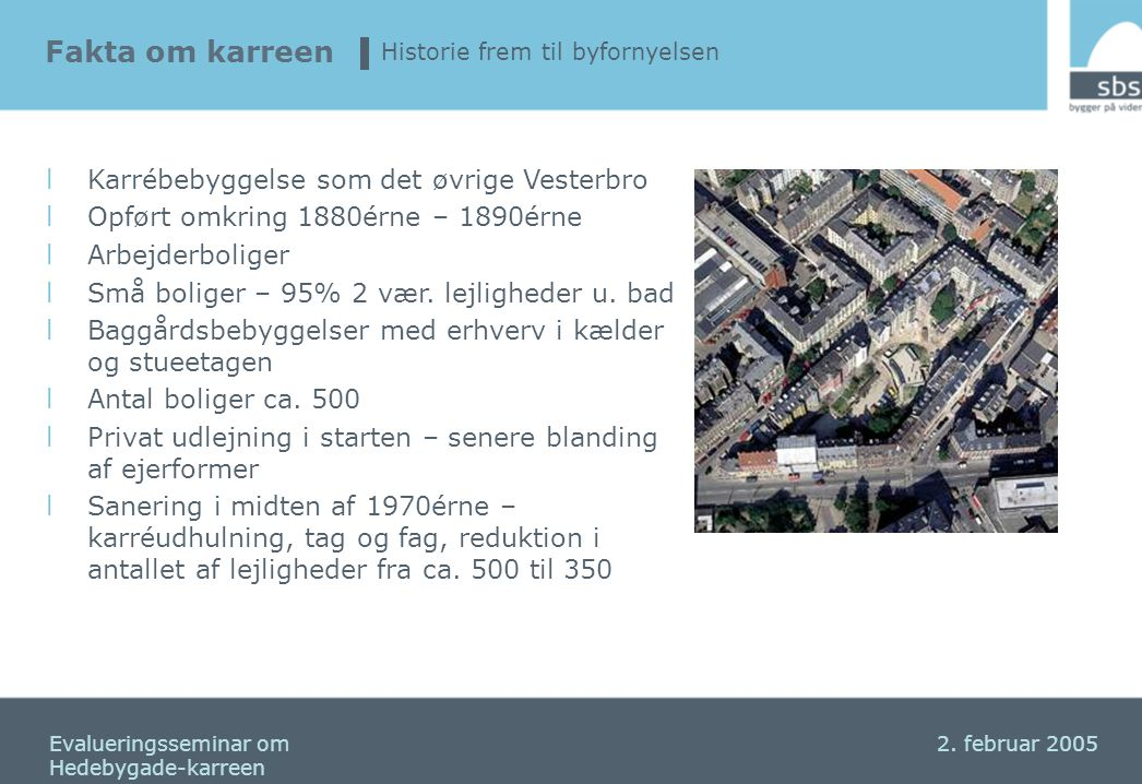 Fakta om karreen Karrébebyggelse som det øvrige Vesterbro