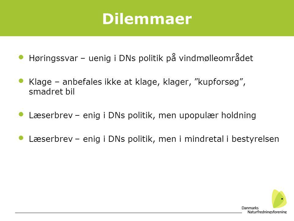 Dilemmaer Høringssvar – uenig i DNs politik på vindmølleområdet